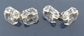 French Art Deco Platinum Rock Crystal Diamond Cufflinks