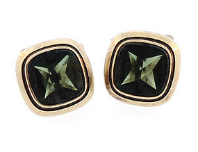 European Mid-Century 800 Silver Green Spinel Cufflinks