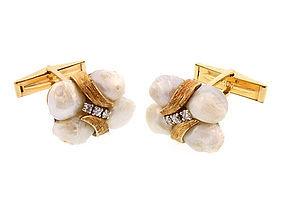 Vintage 14K Gold, Diamond & Freshwater Pearl Cufflinks