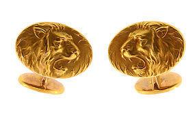 Krementz Art Nouveau 14K Gold Lion Cufflinks