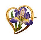 Krementz Art Nouveau 14K Enamel Diamond Iris Heart Pin
