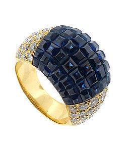 18K Platinum Diamond Sapphire Mystery-Set Bombe Ring