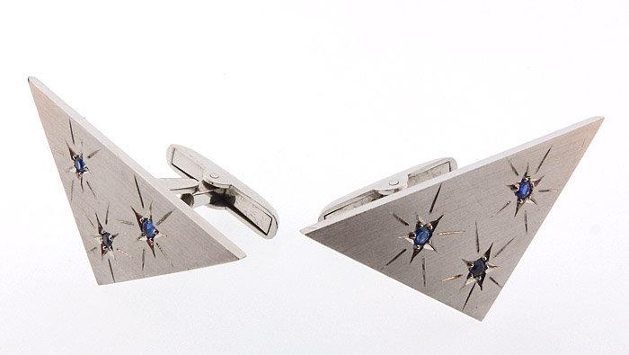 Space Age Moderne 14K White Gold & Sapphire Cufflinks