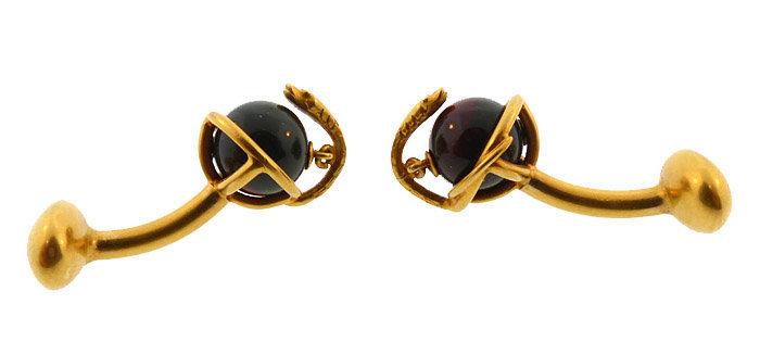 Victorian 18K Gold & Bloodstone Snake Cufflinks