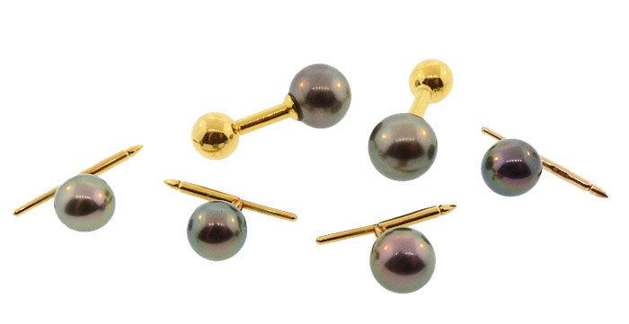 Louis Tamis 18K Gold & South Sea Black Pearl Dress Set
