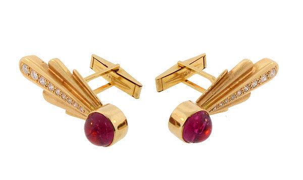 18K Gold, Diamond & Pink Tourmaline Comet Cufflinks