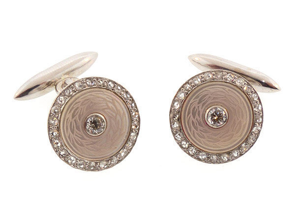 Carrington 14K White Gold Diamond MOP Cufflinklinks