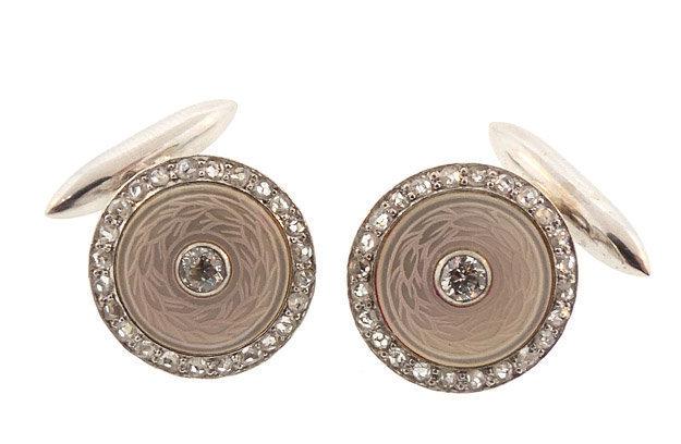 Carrington 14K White Gold Diamond MOP Cufflinklinks