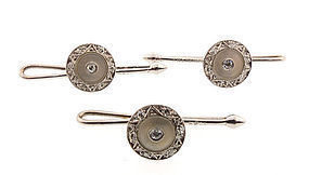 Krementz 14K White Gold Diamond & Mother-of-Pearl Studs