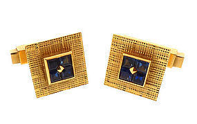 French 18K Gold & Sapphire Snap Cufflinks