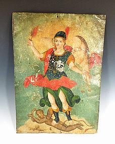 Mexican San Miguel the Archangel Tin Retablo