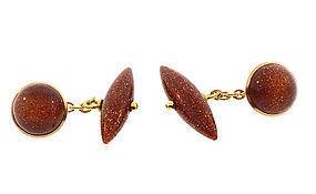 Art Deco 18K Gold & Aventurine Glass Cufflinks