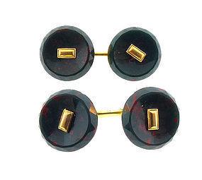 Art Deco 14K Gold & Bloodstone Cufflinks