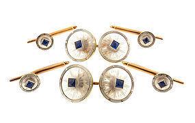 Krementz Rock Crystal Sapphire 14K Gold Dress Set