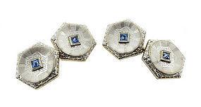 Edwardian Platinum, 14K Gold & Sapphire Cufflinks