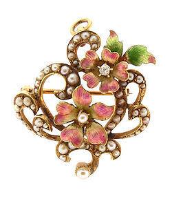 Art Nouveau 14K Gold Enamel Diamond Pendant & Pin