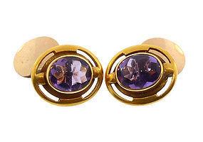 Arts & Crafts 14K Gold & Buff Top Amethyst Cufflinks