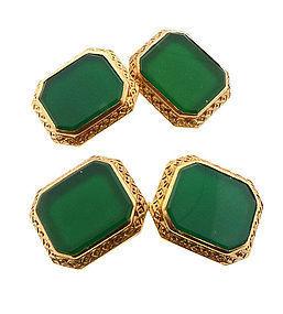 Art Deco Krementz 14K Gold & Green Chalcedony Cufflinks