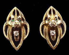 Art Nouveau 14K Gold Diamond Emerald Gargoyle Cufflinks