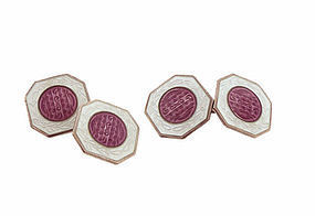 Art Deco Enameled Sterling Silver Cufflinks
