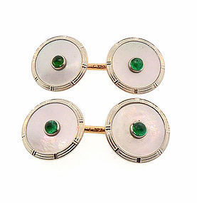 Krementz 14K Platinum Emerald Mother of Pearl Cufflinks
