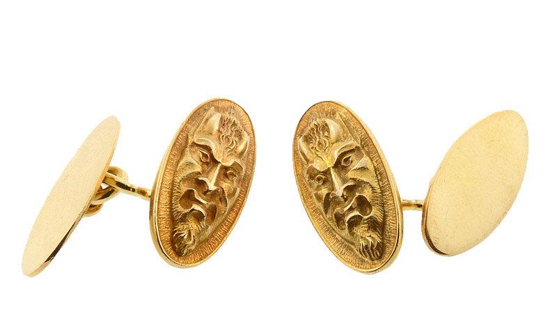 Art Nouveau Tiffany 18K Gold Devil Cufflinks