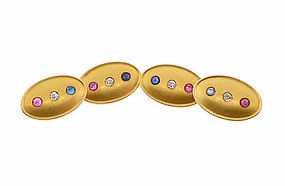 Patriotic Victorian 14K Gold, Diamond, Ruby & Sapphire Cufflinks