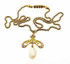 Art Nouveau 14K Gold, Enamel & Pearl Pendant Necklace