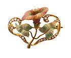 Victorian Art Nouveau 18K Gold Enamel Diamond Pearl Flower Brooch
