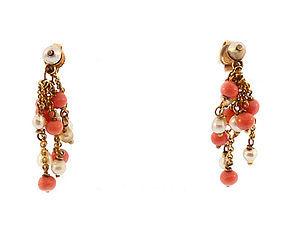 Art Deco 12K Gold, Coral & Pearl Tassel Earrings
