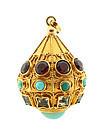 Venetian Etruscan 18K Gold, Turquoise, Garnet & Aquamarine Fob Charm