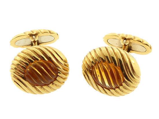 Boucheron 18K Gold & Fantasy-Cut Citrine Cufflinks