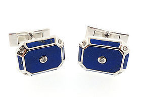 14K White Gold, Lapis Lazuli & Diamond Cufflinks
