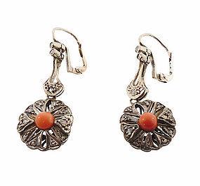 Edwardian 10K White Gold, Coral & Diamond Earrings