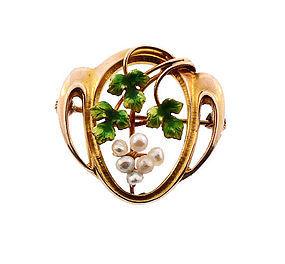 Art Nouveau 10K Gold, Enamel & Pearl Grape Cluster Pin