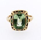Art Deco 10K Gold, Enamel & Green Spinel Ring