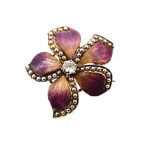 Art Nouveau Enameled 14K Gold, Diamond & Pearl Violet Flower Pin