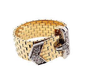 Retro J. E. Caldwell 18K Gold, Platinum, Diamond Buckle Ring