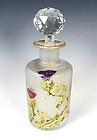 Saint Louis Art Nouveau Etched Cameo Glass & Enamel Perfume Bottle