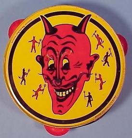 Litho Tin Halloween Tambourine Noisemaker