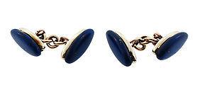 Art Deco 14K Gold & Lapis Lazuli Cufflinks