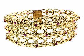 Retro 18K Yellow Gold & Ruby Mesh Bracelet