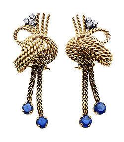 Mid-Century 18K Gold, Diamond & Sapphire Earrings