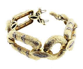 Vintage 1960�s 14K Yellow Gold & Diamond Wood-Grained Link Bracelet
