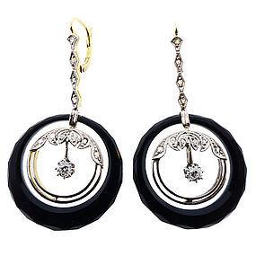 Art Deco Platinum, Gold, Diamond & Onyx Earrings