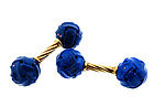 18K Gold & Carved Lapis Barbell Cufflinks