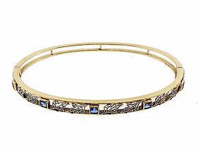 Edwardian 14K Gold, Platinum & Sapphire Hinged Bangle Bracelet