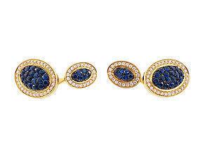 Signed Apogée 18K Gold, Sapphire & Diamond Cufflinks