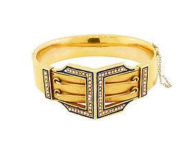 Victorian 14K Gold Seed Pearl & Enamel Buckle Hinged Bangle Bracelet