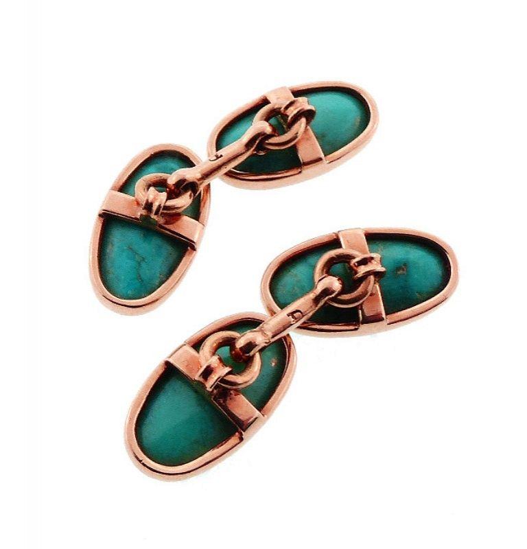 Edwardian 14K Gold & Turquoise Cufflinks